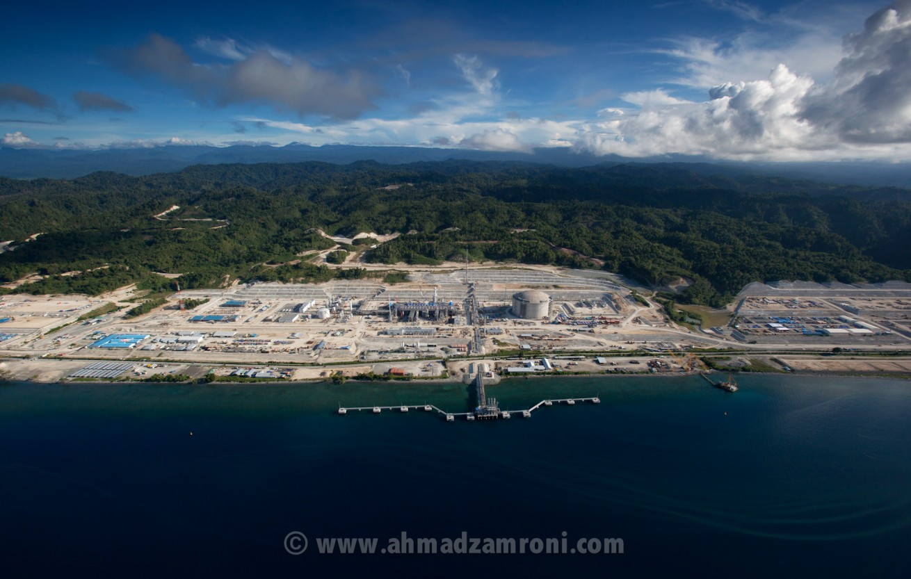 Aerial view of Donggi Senora LNG, Luwuk, Central Sulawesi